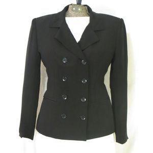 Jones NY Black Silk Double Breasted Suit Jacket